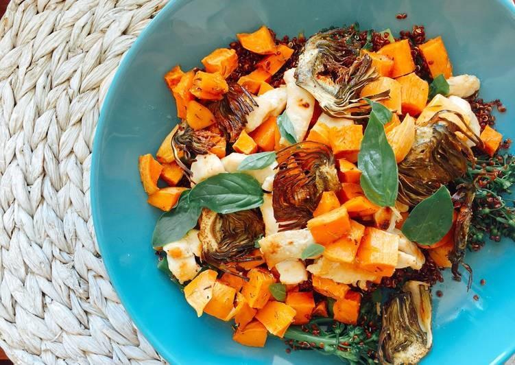 Ensalada templada de quinoa, boniato asado y bimi